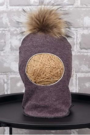 Шапка-шлем с помпоном из чернобурки коричневый меланж