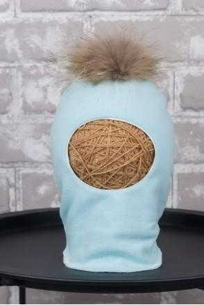 Шапка-шлем с помпоном из чернобурки мята