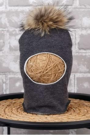 Шапка-шлем с помпоном из чернобурки черный меланж