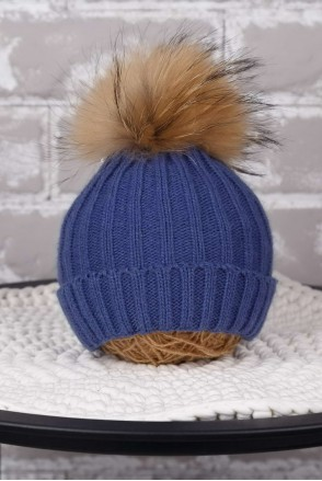Вязаная шапочка Pumpkin синяя