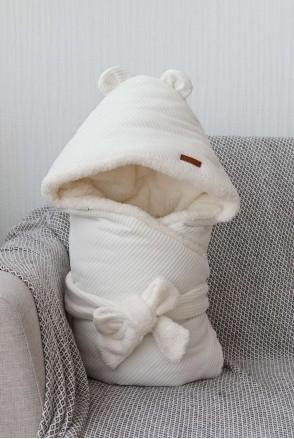 Зимний велюровый конверт-одеяло на махре Velvet молочный
