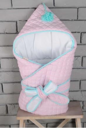 Демисезонный стеганый конверт-одеяло с кисточкой на выписку розово-бирюзовый