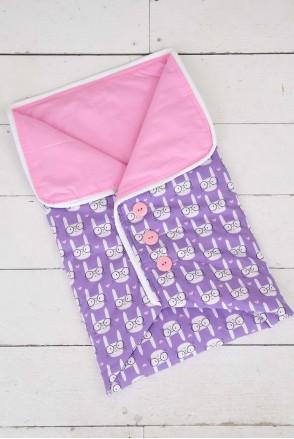 Конверт-одеяло на выписку  с пуговицами Funny rabbits