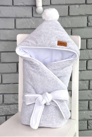 Велюровый конверт-одеяло на трикотаже на выписку серый меланж