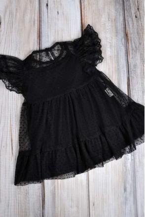 Фатиновое платье с боди Черное