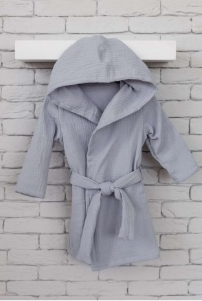 Муслиновый халат Soft серый