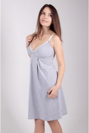 Ночная рубашка арт. 25202 серый меланж для беременных и кормящих
