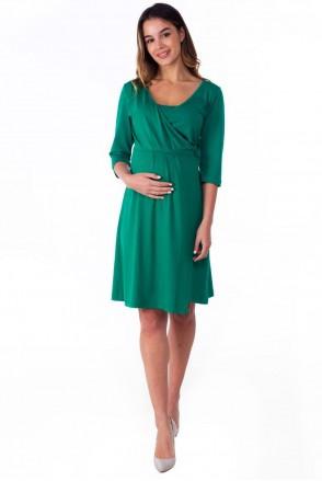 Базовое трикотажное платье на запах для беременных и кормящих Изумруд