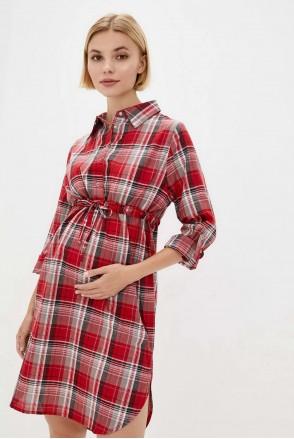 Рубашка-платье в клетку для беременных и кормления