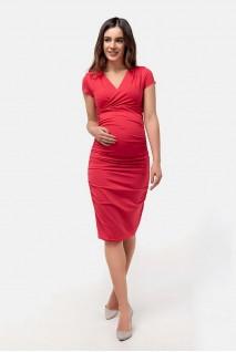 Платье-футляр красный для беременных и кормящих