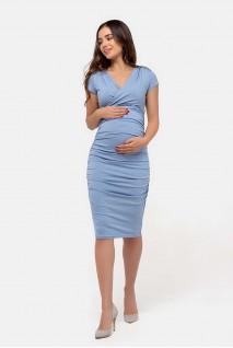 Платье-футляр пепельно-голубой для беременных и кормящих
