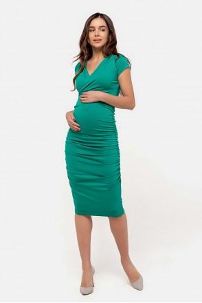 Платье-футляр изумруд для беременных и кормящих