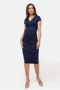 Платье-футляр тёмно-синий для беременных и кормящих