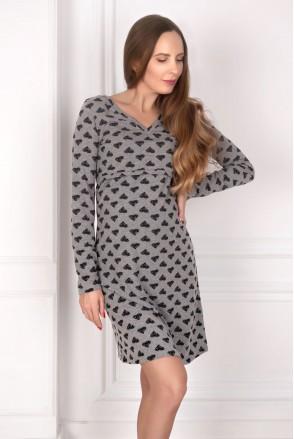 Платье трикотажное серый для беременных и кормящих
