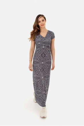 Длинное трикотажное платье для беременных и кормления