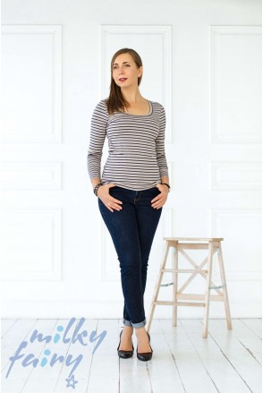 Пуловер с длинным рукавом полоска/синий для кормящих