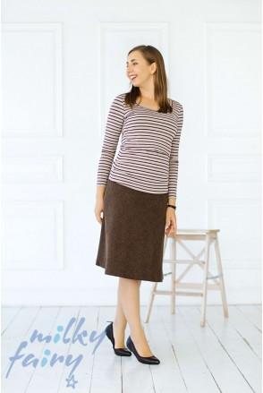 Пуловер с длинным рукавом полоска/бордо для кормящих