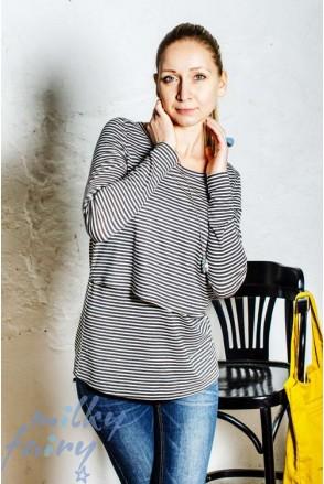 Пуловер с вырезом-лодочкой черно-белая полоска для кормящих