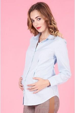 Блуза 1308224 голубой горошек для беременных