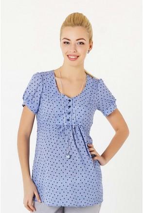 Блуза 131717215 синий для беременных и кормления