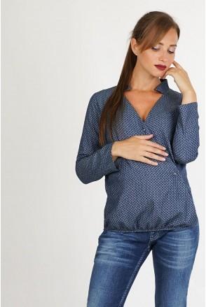 Блуза 4011651 синий для беременных и кормления