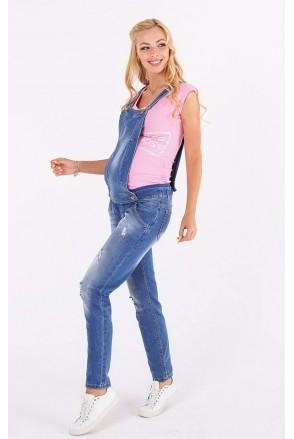 Напівкомбінезон 10025721 синій варка 2 рванка для вагітних