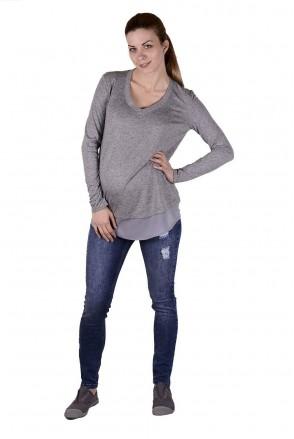 Брюки джинсовые 1163629-1 синие рванка для беременных