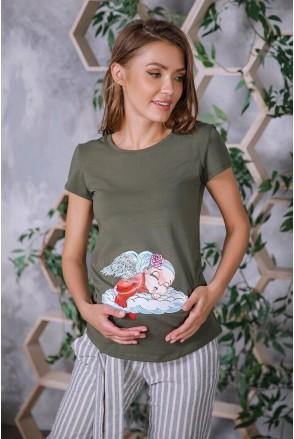 Футболка 4076041-57 хаки для беременных
