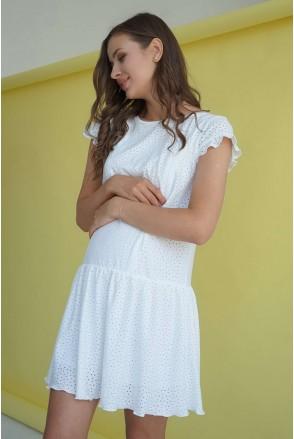Платье 4244077 белое прошва для беременных и кормления