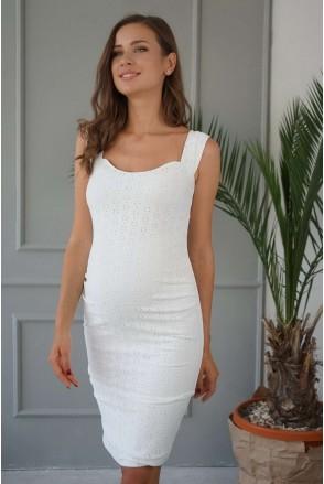 Платье 4252077 белое прошва для беременных