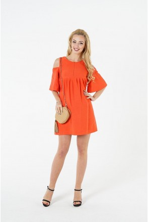 Платье 1384169 коралловый для беременных и кормления
