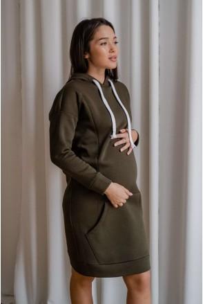Платье-худи 4284115 хаки для беременных и кормления