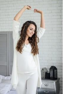 Халат 3057041 молочный для беременных и кормления