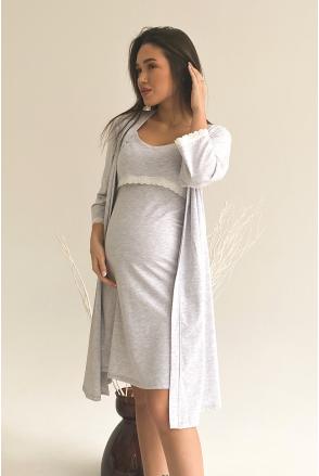 Халат 3057041 серый для беременных и кормления