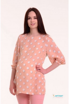 Блуза EVA бледно-персиковый в белые круги для беременных