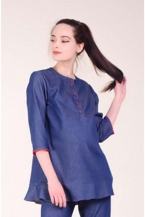 Блуза DOTS SHIRT синий джинс для беременных и кормящих