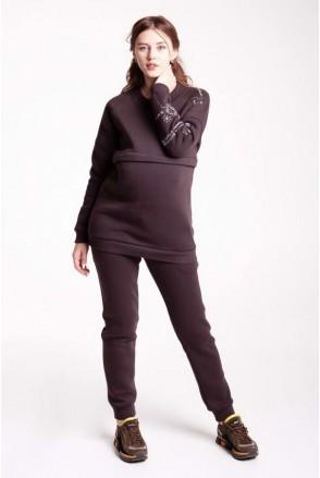 Костюмчик МАМ EMOTIONS коричневый для беременных и кормящих