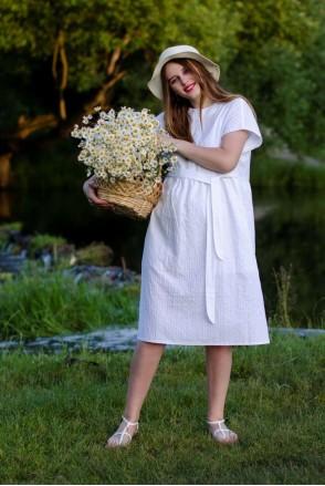 Платье WHITE STORY белый для беременных и кормления