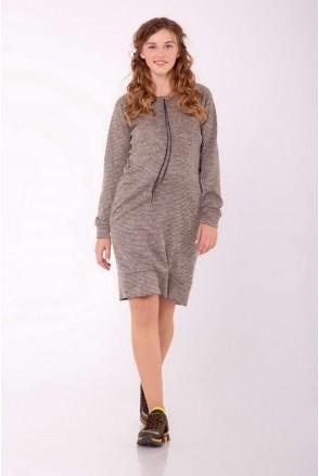 Платье-худи TRISH темный беж меланж для беременных и кормящих