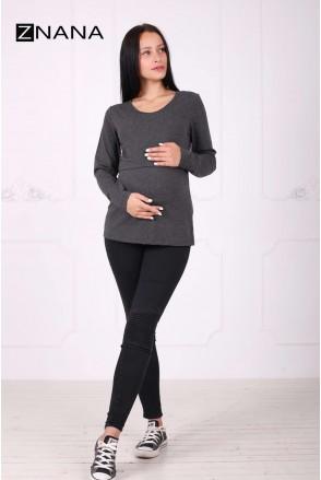 Лонгслив Simple темно-серый меланж для беременных и кормящих