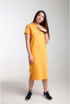 Платье Move горчица для беременных и кормления