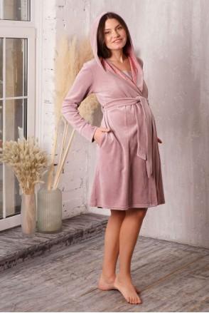 Халат Care с капюшоном велюровый пудровый беж для беременных и кормления