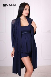 Комплект Lace темно-синий (халат + пижама) для беременных и кормящих