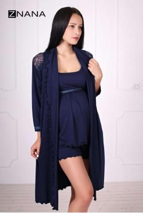 Комплект Lace темно-синій (халат + піжама) для вагітних і годування