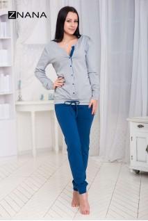 Костюм домашний NICE утепленный джинс/серый для беременных и кормящих мам