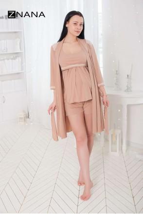 Комплект Lace Світлий беж (халат + піжама) для вагітних і годування