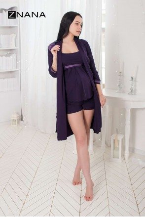 Комплект Lace Баклажан (халат + піжама) для вагітних і годування
