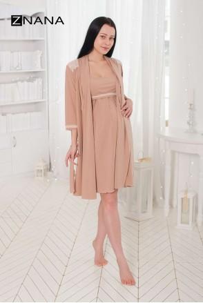 Комплект Lace Світлий беж (халат + нічна сорочка) для вагітних і годування