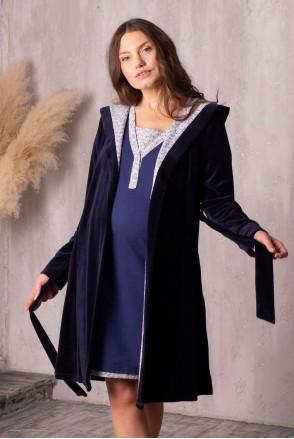 Комплект Care т.синій (халат велюровий з капюшоном + нічна сорочка) для вагітних і годування
