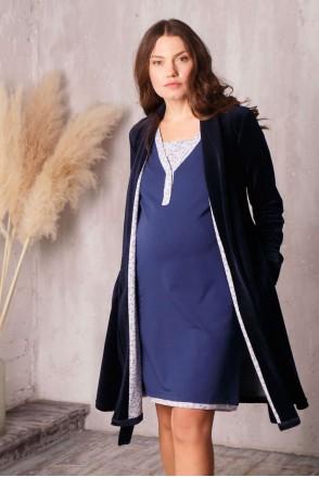 Комплект Care т.синій (халат велюровий + нічна сорочка) для вагітних і годування